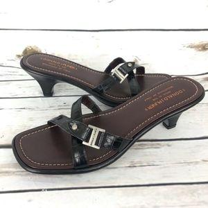 New Donald J Pliner 8 Heel Sandals Black Leather